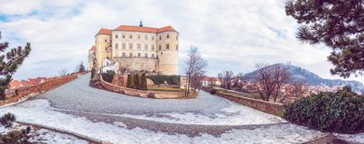 Mikulov castle and holy hill, Czech republic. Panoramic photo of Mikulov castle and holy hill, Czech republic. Travel destination. Beautiful place. Purple photo royalty free stock photos