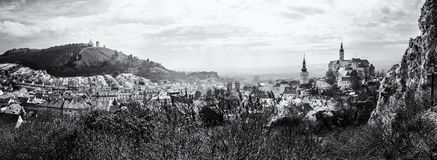 Mikulov with castle, holy hill and old town centre, colorless. Panoramic photo of Mikulov with castle, holy hill and old town centre. Czech republic. Travel stock images