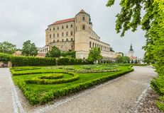 Mikulov castle in South Moravia on a rainy day stock images