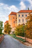 Mikulov Castle in South Moravia at sunset, Czech Republic royalty free stock photography