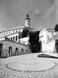Mikulov Castle in southern Moravia, Czech Republic. Black and white image Royalty Free Stock Photo