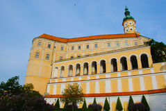Mikulov castle. With typical arcade, tower and yellow facade (Czech Republic Royalty Free Stock Photos