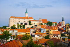 Mikulov castle in typical moravian town Stock Photos