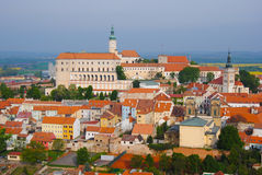 Mikulov castle in typical moravian town Royalty Free Stock Image