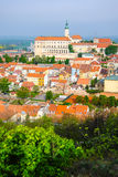 Mikulov castle in typical moravian town Royalty Free Stock Photos