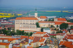 Mikulov castle in typical moravian town Stock Photography