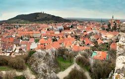 Mikulov sikt av den östliga delen av staden, Tjeckien Arkivfoton