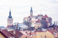 Mikulov slott, sydliga Moravia, tjeck, skönhetfilter Royaltyfria Bilder