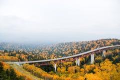 Mikuni通行证在秋天,北海道,日本 免版税库存照片