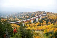 Mikuni通行证在秋天,北海道,日本 库存图片