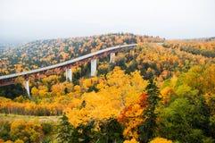 Mikuni通行证在秋天,北海道,日本 库存照片