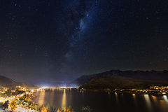 Miky way above Lake Wakatipu Royalty Free Stock Images