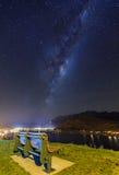 Miky way above Lake Wakatipu stock photography