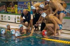 MILÁN, EL 18 DE OCTUBRE: Equipo directivo del deporte de BPM durante tiempo hacia fuera Fotos de archivo libres de regalías
