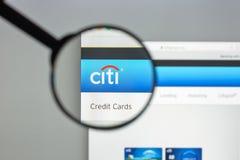 Milán, Italia - 10 de agosto de 2017: Citibank deposita el homepage del sitio web Fotografía de archivo libre de regalías
