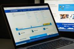 Milán, Italia - 10 de agosto de 2017: Homepage del sitio web de Ryanair Es Foto de archivo libre de regalías