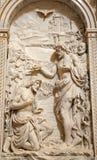 Milão - baptismo de Christ - relevo fotografia de stock royalty free