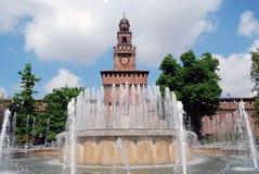 Milão - Castello Sforzesco, castelo de Sforza Imagem de Stock Royalty Free