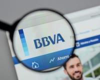 Milão, Itália - 10 de agosto de 2017: Banco Bilbao Vizcaya Argentaria Imagem de Stock Royalty Free