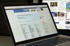 Milão, Itália - 10 de agosto de 2017: Homepage do Web site do ABC Logotipo do ABC visível Foto de Stock