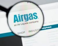 Milão, Itália - 10 de agosto de 2017: Homepage do Web site de Airgas É t Fotografia de Stock