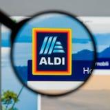 Milão, Itália - 10 de agosto de 2017: Homepage do Web site de ALDI É Fotografia de Stock Royalty Free
