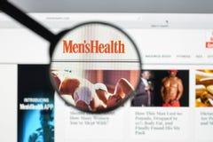 Milão, Itália - 10 de agosto de 2017: Homepage do Web site da saúde dos homens Mim Imagem de Stock Royalty Free