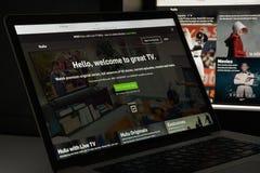 Milão, Itália - 10 de agosto de 2017: Homepage do Web site de Hulu É fotos de stock