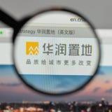 Milão, Itália - 10 de agosto de 2017: Logotipo da terra de China Res no websi imagem de stock