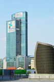MILÃO, ITÁLIA - 19 DE JULHO DE 2017: Lombardy que constrói Palazzo Lombardia as matrizes novas do governo regional de Gael Aulen Fotografia de Stock Royalty Free