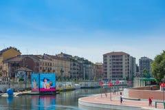 MILÃO, ITÁLIA - 26 DE JUNHO DE 2015: O Darsena (uma frota de Milão) af Fotografia de Stock