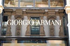 MILÃO, ITÁLIA - 7 DE SETEMBRO DE 2017: Fachada da galeria interna Vittorio Emanuele da loja de Giorgio Armani II a compra a mais  fotos de stock royalty free