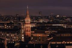 Milão, Itália: vista aérea, parte central da cidade fotografia de stock royalty free