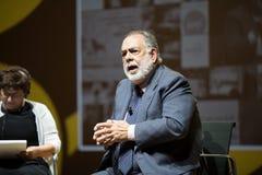 MILÃO, ITALIA 26 10 2015 Francis Ford Copolla na conferência dos meios durante a EXPO Milão 2015 Fotografia de Stock