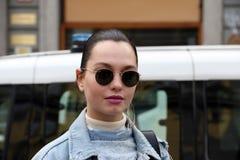 Milão, Milão, inverno 2015 2016 do outono da semana de moda das mulheres Fotografia de Stock Royalty Free
