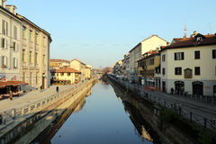 Milão, Milão, o Naviglio grandioso Fotos de Stock