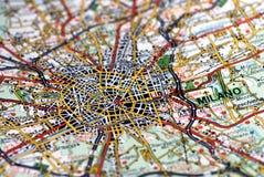 Milão no mapa Fotos de Stock