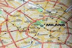 Milão no mapa Fotografia de Stock