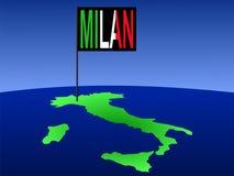 Milão no mapa de Italy ilustração stock