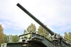 305-milímetro arma ferroviario TM-3-12 Foto de archivo libre de regalías