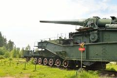 305-milímetro arma ferroviario TM-3-12 Fotos de archivo
