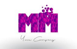 Milímetro M M Dots Letter Logo com textura roxa das bolhas Fotos de Stock