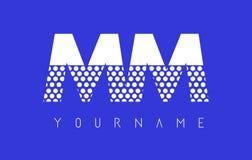 Milímetro M M Dotted Letter Logo Design con el fondo azul Fotos de archivo