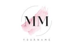 Milímetro M M Watercolor Letter Logo Design con el modelo circular del cepillo Fotografía de archivo