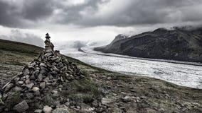 Mil av glaciärtungan Skaftafell arkivbild