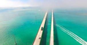 7 mil bro flyg- sikt Florida tangenter, maraton, USA Royaltyfri Fotografi