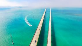 7 mil bro flyg- sikt Florida tangenter, maraton, USA Arkivbild