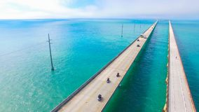 7 mil bro flyg- sikt Florida tangenter, maraton, USA Royaltyfria Bilder