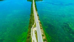 7 mil bro flyg- sikt Florida tangenter, maraton, USA Royaltyfri Bild