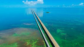 7 mil bro flyg- sikt Florida tangenter, maraton, USA Arkivbilder